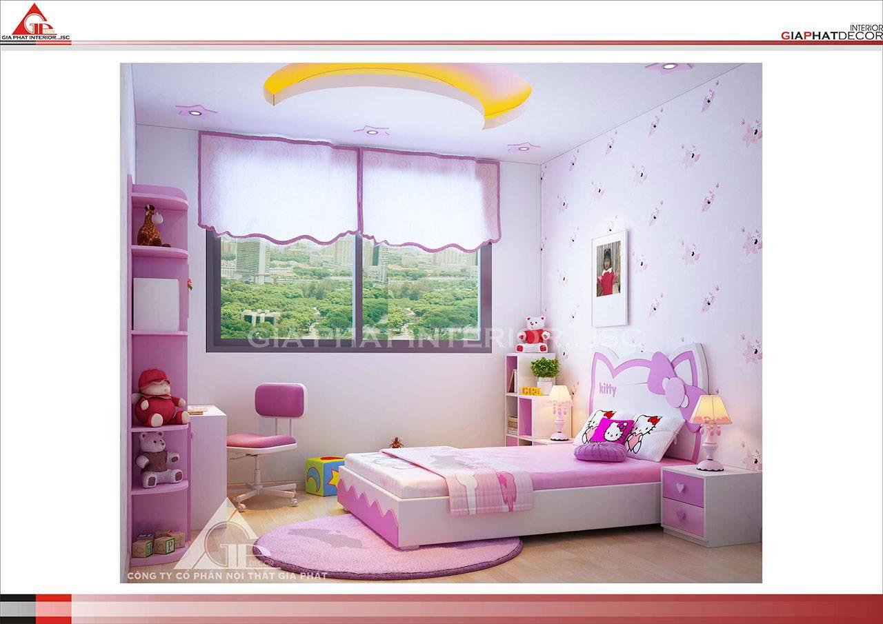Thiết kế, thi công nội thất chung cư đẹp, hiện đại, cao cấp tại Hà Nội - Phòng ngủ bé gái